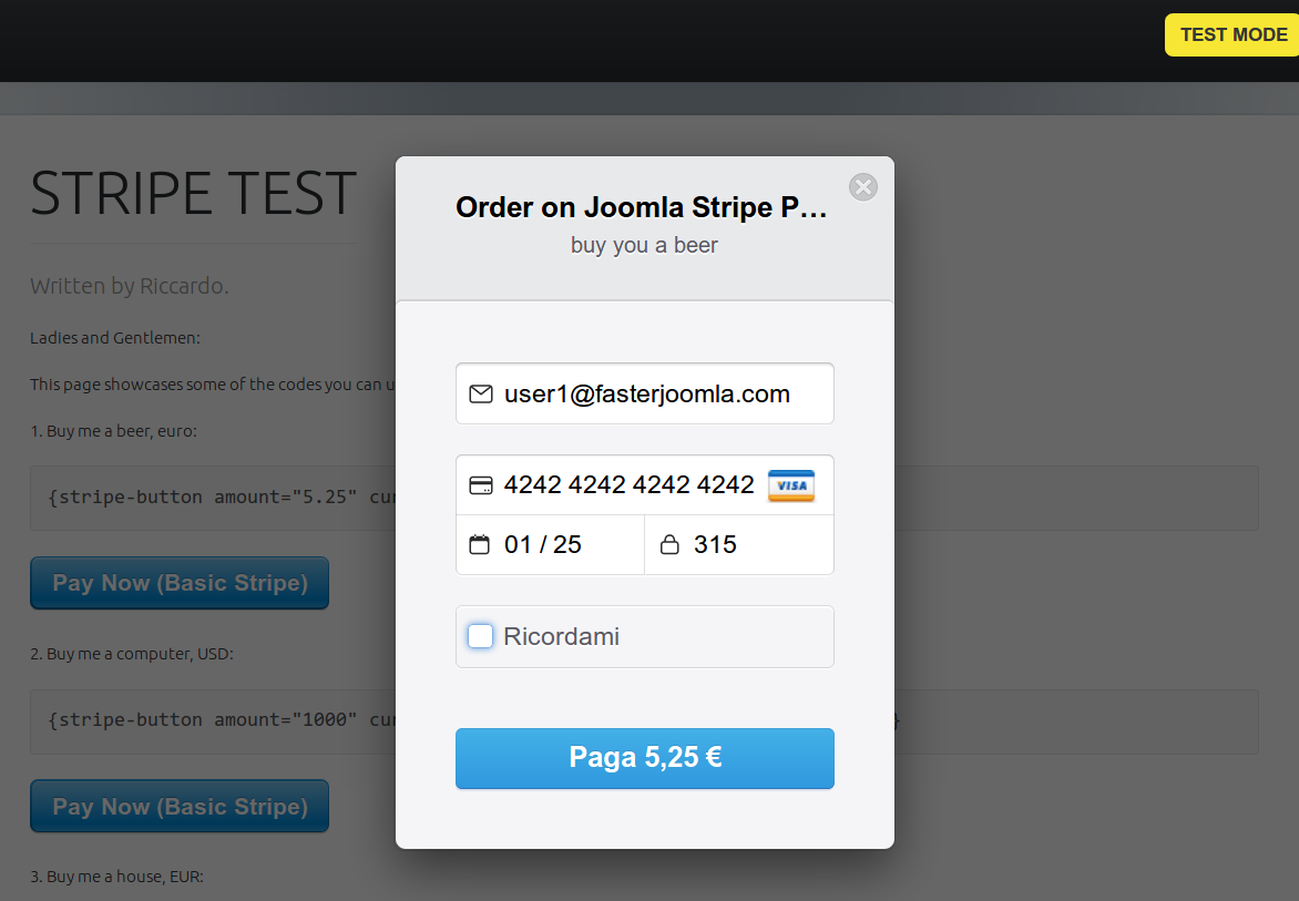 stripe show payment button