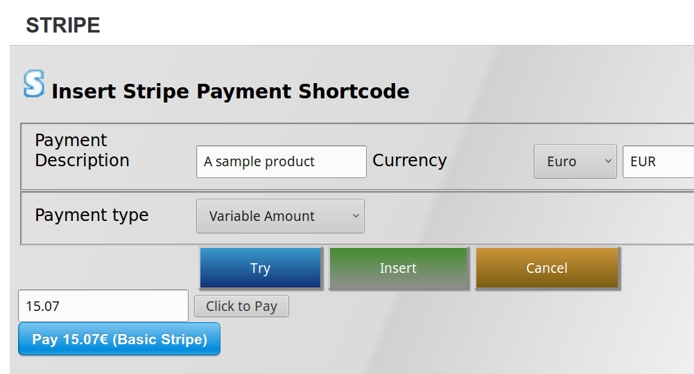 stripe variable payment