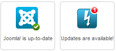Joomla update icons in the control panel